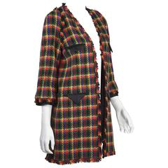 2007A Chanel 3/4 Plaid Coat With Black Satin Trim FR 42