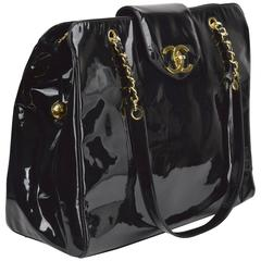 Circa 1996 Chanel Black Patent Oversized Classic Shoulder Bag