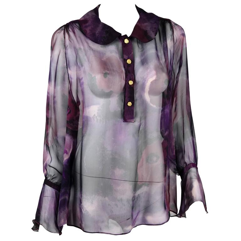 1990s Chanel Boutique Label Sheer Purple Silk Print Blouse w/Gold Nugget Buttons 1