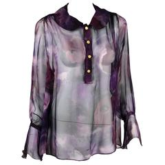 1990s Chanel Boutique Label Sheer Purple Silk Print Blouse w/Gold Nugget Buttons