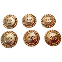 6 Vintage Chanel Gold Tone Buttons