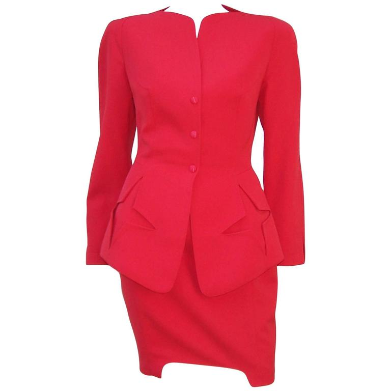 c.1990 Thierry Mugler Fiery Red Suit With Star Pockets & Stylized Skirt