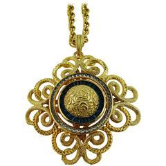 Lucien Piccard Vintage Massive Jewelled Pendant Necklace