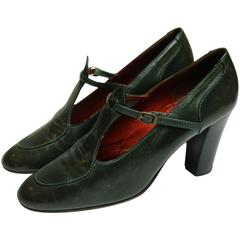 Yves Saint Laurent  Paris Green Leather Shooes
