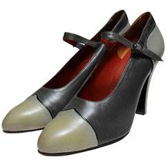 Yves Saint Laurent Paris, shoes in two shades of grey.