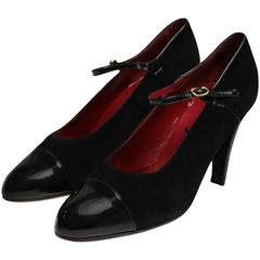 Black Suede and Patent Leather Shoes by YSL Paris.