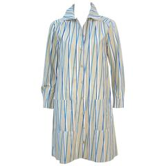 1970s Marimekko of Finland Graphic Op Art Striped Cotton Shirt Dress