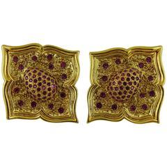 Jean-Louis Scherrer Vintage Jewelled Oriental Style Flower Clip-On Earrings