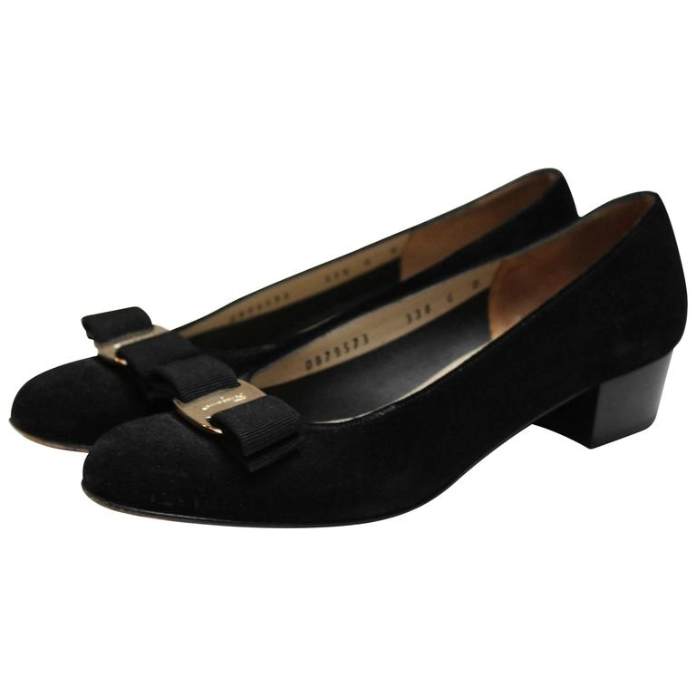 Salvatore Ferragamo Black Suede Pumps. 1