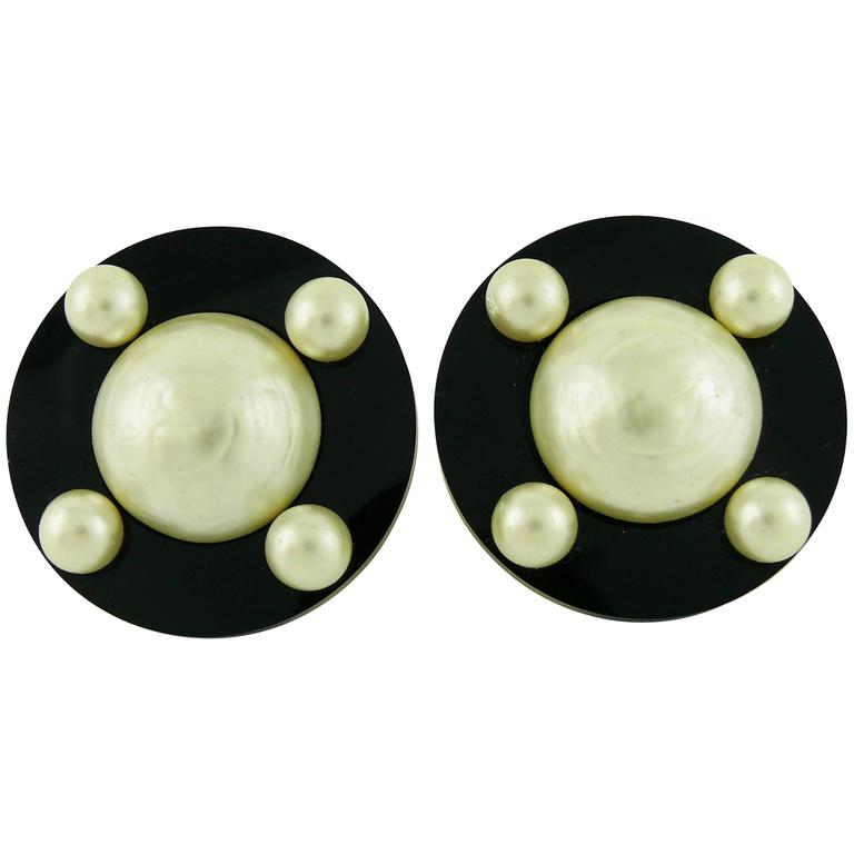 Chanel Vintage Massive Classic Black White Clip-On Earrings 1
