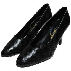 Yves Saint Laurent Black Snakeskin Shoes