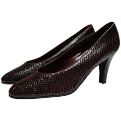 Yves Saint Laurent Paris Brown and Black Snakeskin Court Shoes