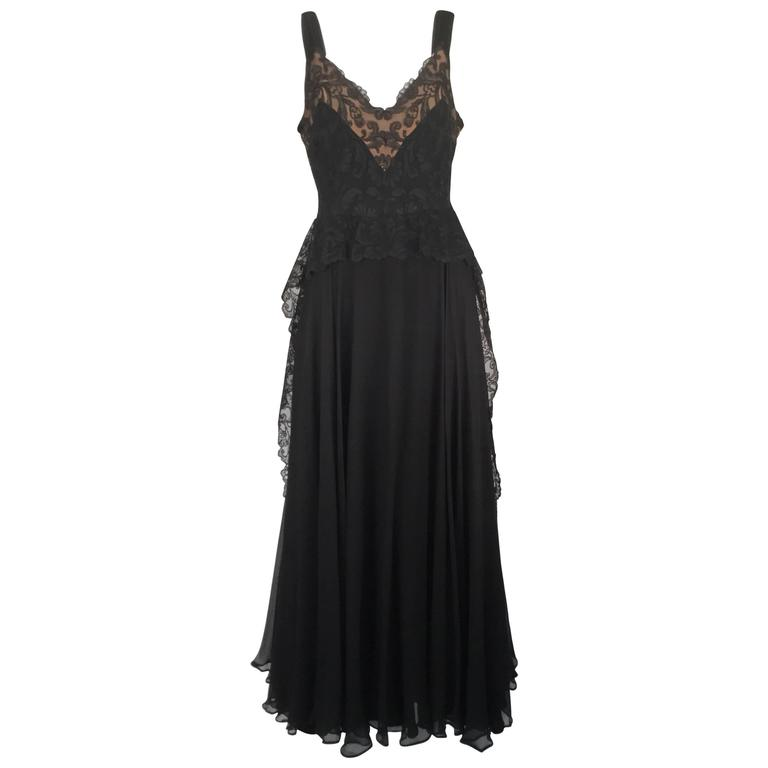 1940s Black Silk Evening Dress with Lace Overlay 1