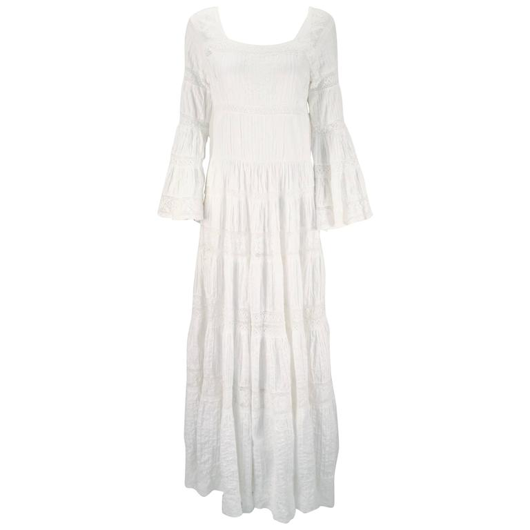1970s Made in Mexico for Fred Leighton White Summer Dress 1