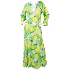 "Early 1970s ""The Lilly"" Lilly Pulitzer Cotton Green and Yellow Floral Caftan"