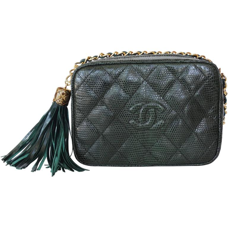 1990s Chanel Green Lizard Skin Quilted Shoulder Bag