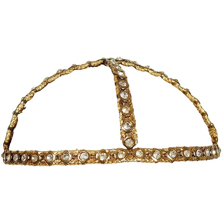 1920's Rhinestone & Metallic-Gold Brass Flapper Art-Deco Juliet Cap Headpiece 1