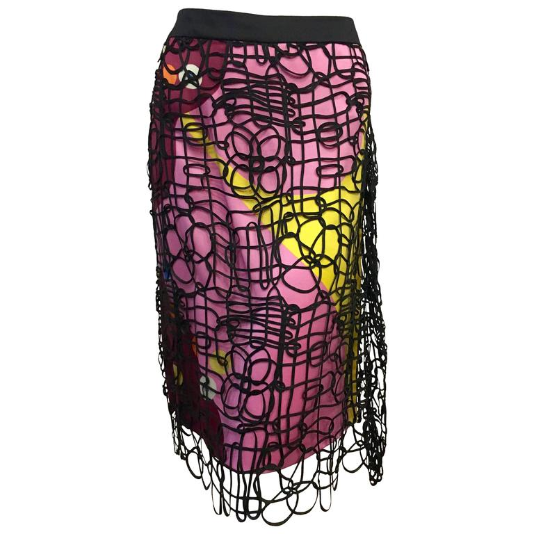 Chanel Caged Silk Print Skirt For Sale