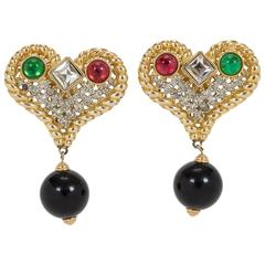 Oversize Valentino Heart Stone Earrings