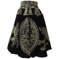 Aztec Calendar Warrior Vintage Black White Circle Tourist Souvenir Skirt, 1950s