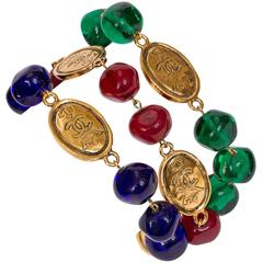 Chanel Triple Gripoix & Coin Bracelet