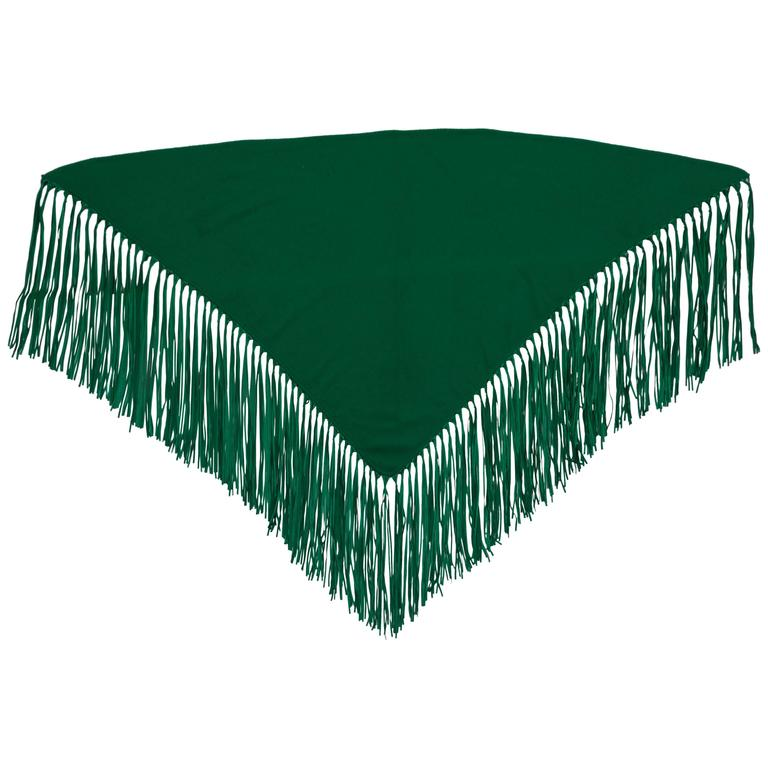 Hermès Cashmere & Leather Green Shawl For Sale