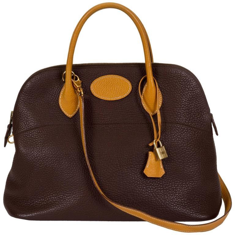 Hermès Brown Naturel 35cm Bolide Togo Leather Bag