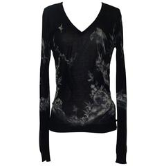 Alexander McQueen Black White Bird Nature Print Long Sleeve Cotton Silk Sweater