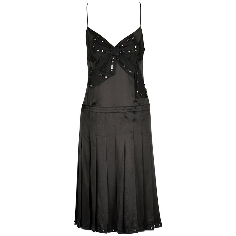 Moschino Black Silk Cocktail Dress with Bow Applique  For Sale