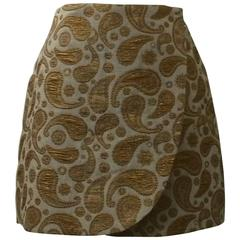 New Stella McCartney Cream & Metallic Gold Paisley Jacquard Mini Wrap Skirt