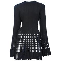 Alaia Black Open Weave Dress