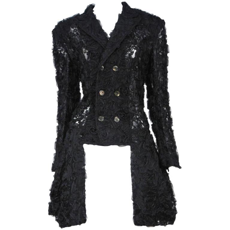 Comme des Garcons Black Applique Jacket 1987 For Sale