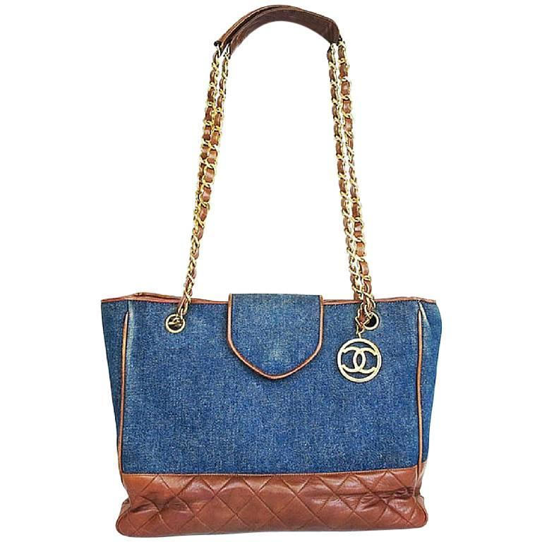 Vintage CHANEL blue jean denim and brown leather combi shoulder tote bag with cc