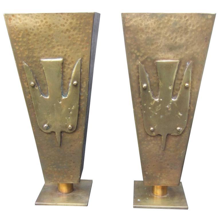 Brutalist Pair of Brass Metal Artisan Bird Urns ca 1974