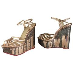 Charlotte Olympia Limited Edition ' Tinsel Town ' Rose Gold / Silver Wedges 36.5