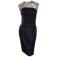 1990s Carlos Marquez Black Silk Vintage 90s Wiggle Dress w/ Lace Overlay LBD