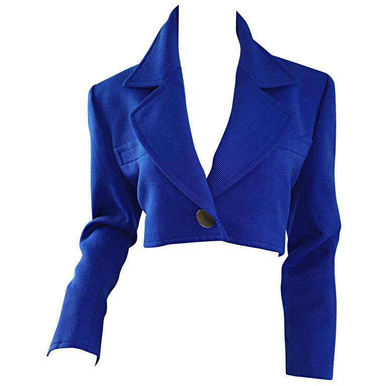 Vintage Yves Saint Laurent Rive Gauche Electric Royal Blue Cropped Bolero Jacket For Sale