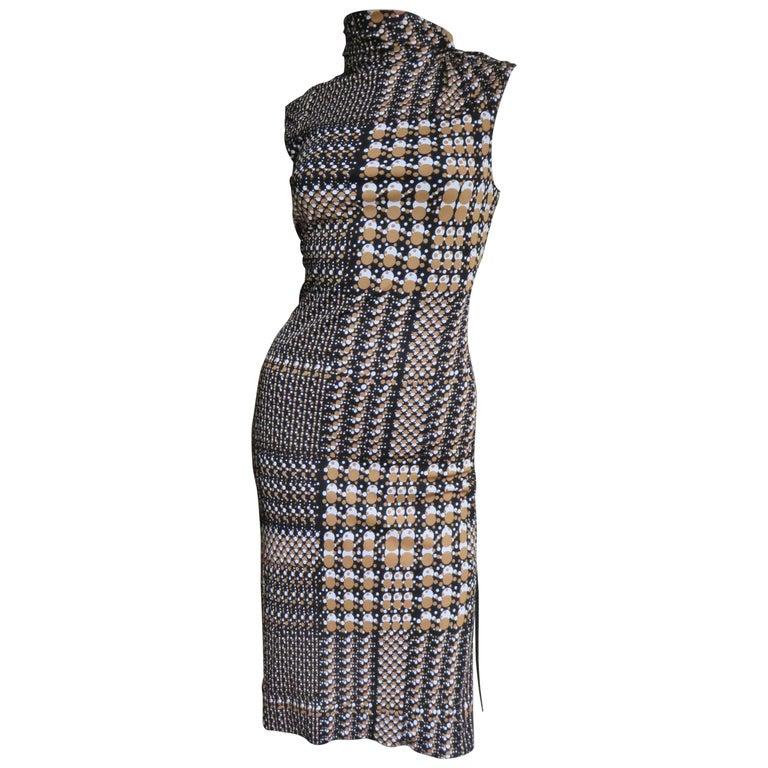 1990s Gianni Versace Dot Print Bodycon Dress