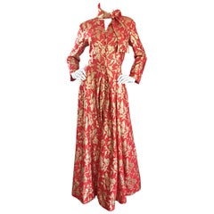 Rare Ferdinando Sarmi 1970s Red + Gold Vintage 70s Silk Gown Maxi Dress w/ Scarf