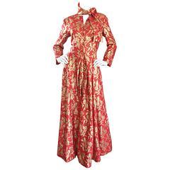 Rare Ferdinando Sarmi 1970s Red + Gold Vintage 70s Silk Gown Maxi Dress w/ Scarf