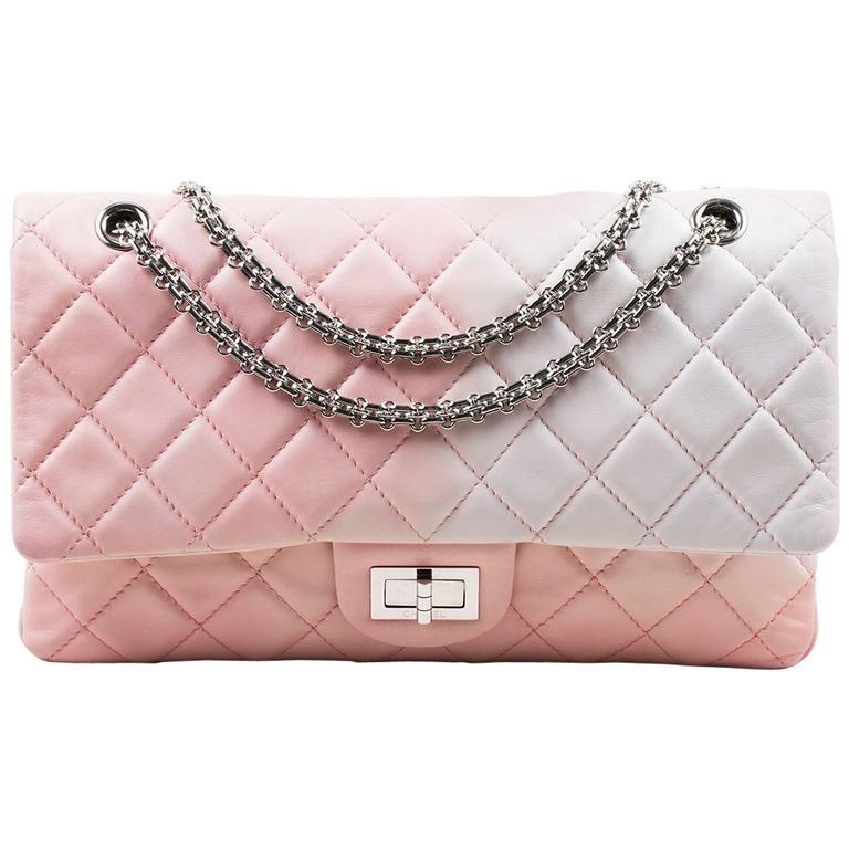 """Chanel Pink White Leather Ombre Degradé """"2.55 Reissue 227"""" Jumbo Handbag 1"""