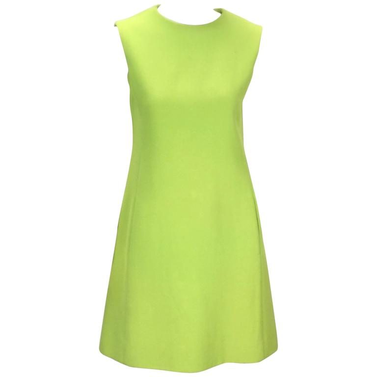 1960's Joan Leslie for Kasper Lime Green Sleeveless Shift Dress  For Sale