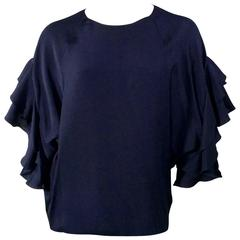 Chloe Navy Ruffled Sleeve Blouse