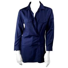 Prada Navy Drapable Button Up Blouse