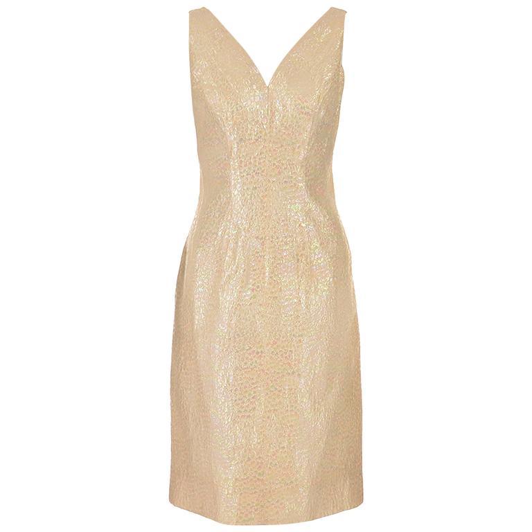 1970s Lilli Diamond Iridescent Sleeveless Cocktail Dress  For Sale