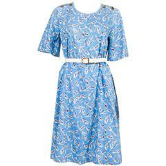 1980s Yves Saint-Laurent Blue Printed Tulip Dress