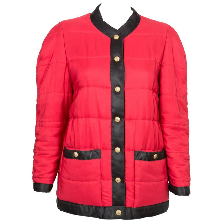 Chanel Red Padded Silk Coat