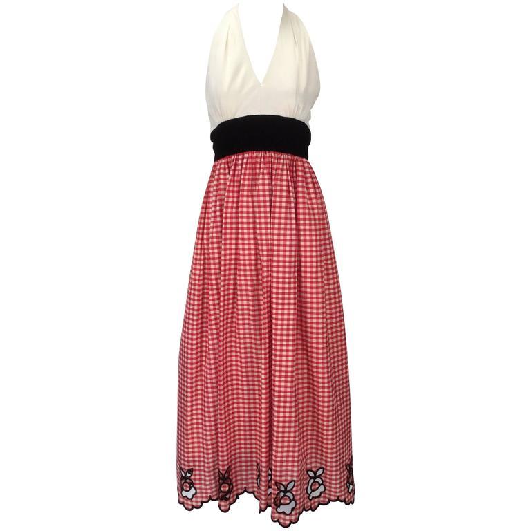 1970s Custom Halter Dress with Gingham Print Skirt