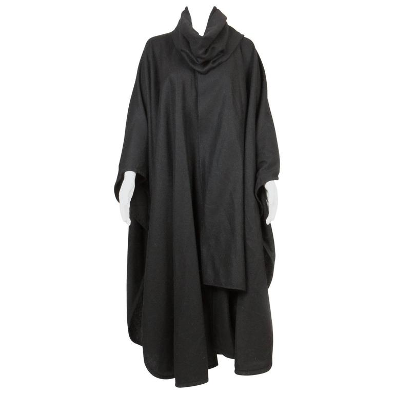 Emblematic Black Saint Laurent Wool Cape 1