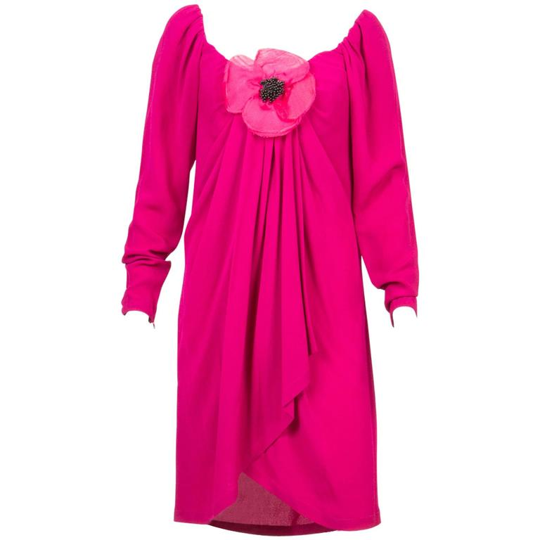 1990s Red Fuchsia Saint Laurent Cocktail Dress